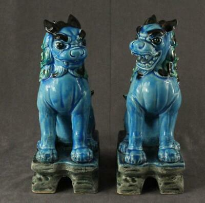 Asian Pottery China Majolica Set FOO DOGS Blue & Green Figurines on Pedestals