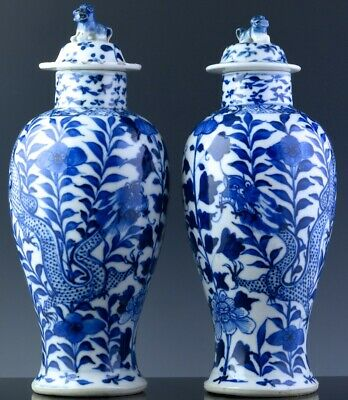 Fine Pair 19Thc Chinese Blue & White Dragon Landscape Lidded Meiping Vases