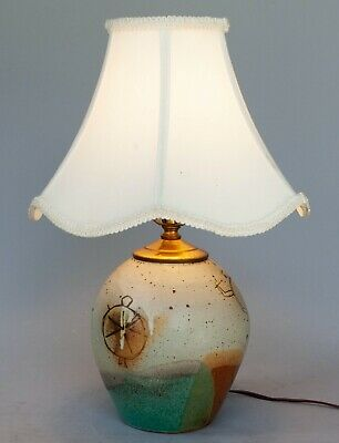 Vintage Hand Thrown Art Pottery Lamp Base - SW Design Pictographs MCM