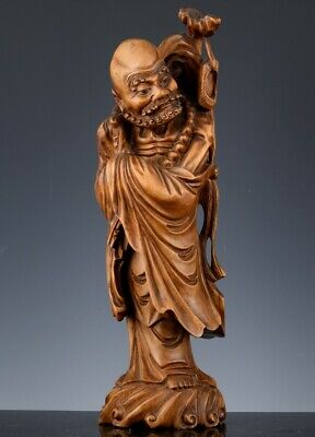 Finely Carved Old Chinese Hardwood Immortal Scholar Lohan Figure