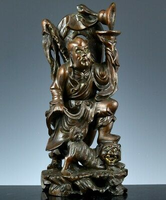 GREAT ANTIQUE CHINESE CARVED HARDWOOD IMMORTAL SCHOLAR w BUDDHA FU LION FIGURE