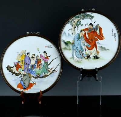 Pair Old Chinese Famille Rose Immoral Scholars Porcelain Wall Plaques Signed