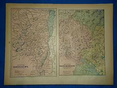 Vintage 1894 MAP ~ ADIRONDACK & WHITE MOUNTAINS ~ Old Antique Original Atlas Map