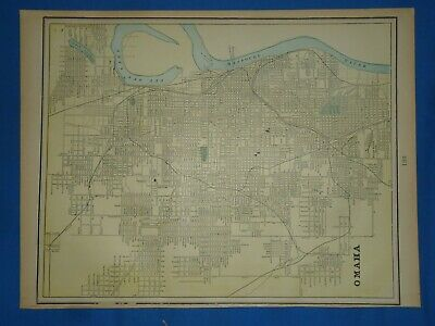 Vintage 1894 MAP ~ OMAHA, NEBRASKA ~ Old Antique Original Atlas Map
