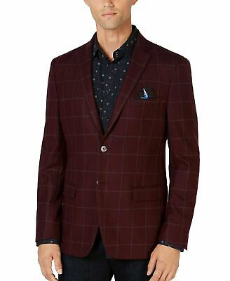 Tallia Mens Blazer Red Size 44 Plaid Print Two-Button Notched Wool $350 #023