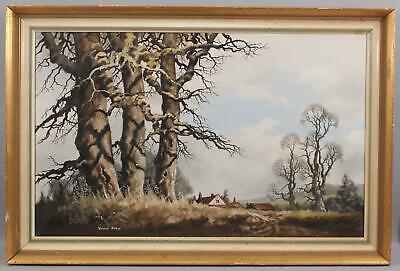 Large Vintage VINCENT SELBY English Country Cottage Tree Landscape Oil Painting
