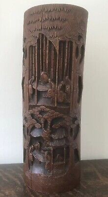 Antique Large Chinese Oriental Bamboo Brush Pot - Carved Figures- Beautiful!