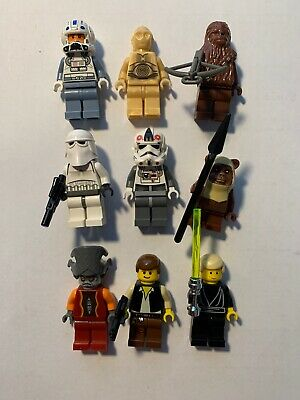 Lego Star Wars lot of 9 Minifigures Chewbacca C3PO Luke Han AT-AT Driver Ewok