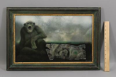 ALFRED SUSSI Surreal Oil Painting, Chimpanzee Ape & American Dollar Bill Money
