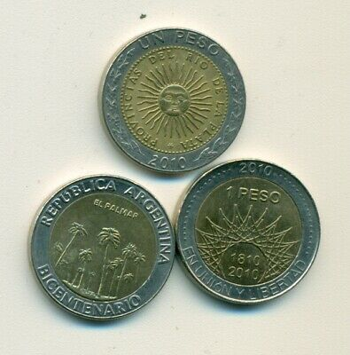 2 DIFFERENT BI-METAL 1 PESO COINS from ARGENTINA DATING 2009 /& 2010