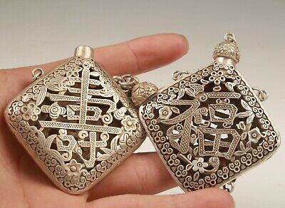 2 China Tibetan Silver Handmade Hollow Carving Snuff Bottle Pendant Collection