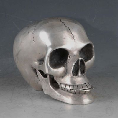 Exquisite Chinese Old Tibetan Silver Skull Statues Collection Rt028