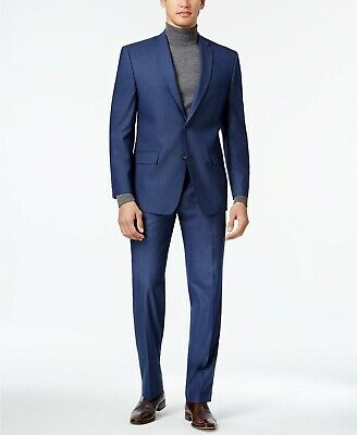 Marc New York Mens Stretch Classic-Fit 2-Piece Suit Blue Size 42R 37x32 NEW $295
