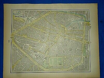 Vintage 1894 MAP ~ BRUSSELS, BELGIUM ~ Old Antique Original Atlas Map