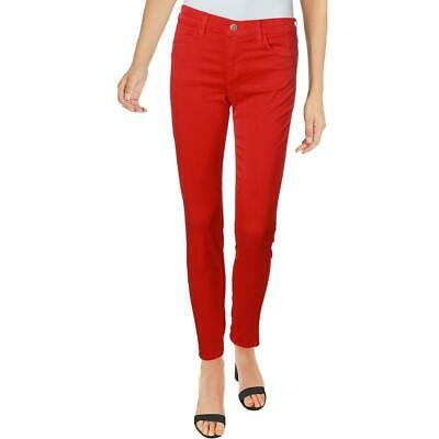 J Brand Womens 8428 Red Sateen Mid-Rise Ankle Zip Cropped Pants 24 BHFO 8089