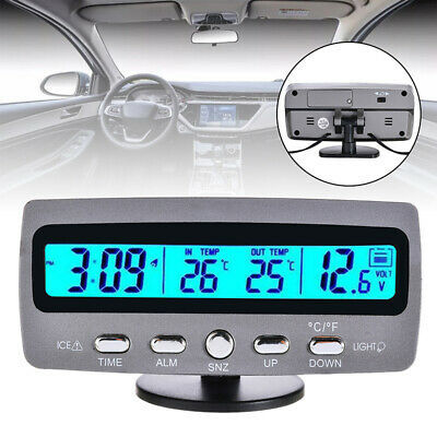12V Car Auto LCD Digital Clock Temperature Thermometer Voltage Tester Voltmeter