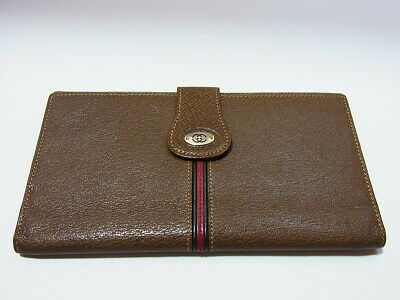 Auth Gucci GG Logo Sherry Line Bi-fold Clutch Brown Leather Long Wallet ITALY