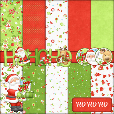 Ho Ho Ho Christmas Craft Paper With Elements - 10 X A4 160Gsm Pages +45 Cut Outs