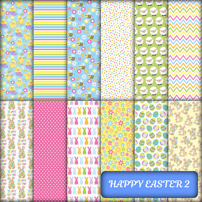 HAPPY EASTER 2 CRAFT / SCRAPBOOK PAPER - 12 x 160GSM A4 PAGES