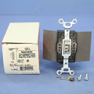 P&S SPDT DOUBLE THROW Center-Off Maintained Contact Locking Switch 15A 1221-L