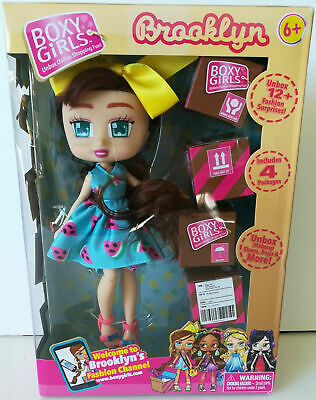"""Brooklyn 8"""" Brunette Boxy Girls Fashion Model Doll 4 Surprise Gift Boxes New"""
