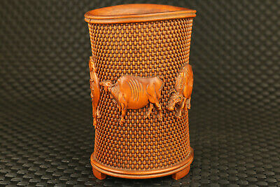 collection Chinese boxwood hand carved ox statue home decoration  brush pot