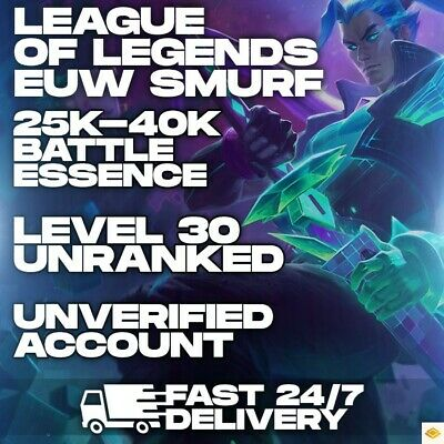 League Of Legends EUW SMURF Account LOL 25-40000 25-40K BE IP Unranked Level 30