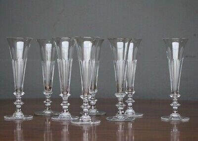 Antique tall champagne flute wine glasses hand blown cut facettes 1840 French
