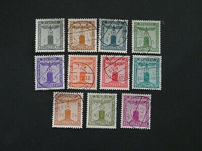 Germany Stamps SG O798/O808 set 11 GU issued 1942 PARTY OFFICIAL No Wmk Perf 14.