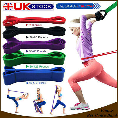 Set Of 5 Heavy Duty Resistance Bands Loop Exercise Fitness Tube Yoga Gym Latex