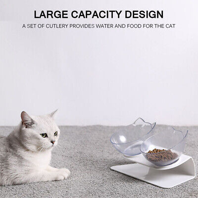 Cat Bowls Double Non-slip With Raised Stand Pet Food Cats Dogs Feeder Bowl NEW!