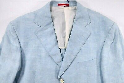 Pal Zileri Concept Mens 46 R Blue Unstructured Linen Blazer Sport Coat Jacket