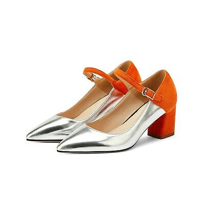 Women's 6cm Mid Heel Faux Leather Mary Jane Pumps Pointed Toe Shoes UK Size 1~12