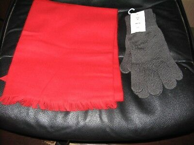 2 Brand New Vintage Items Mens Brushed Scarf Tesco 1986 Red And Pair Of Gloves
