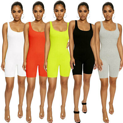 NEW Women's Stylish Sleeveless Lowcut Solid Color Bodycon Sporty Jumpsuit Club
