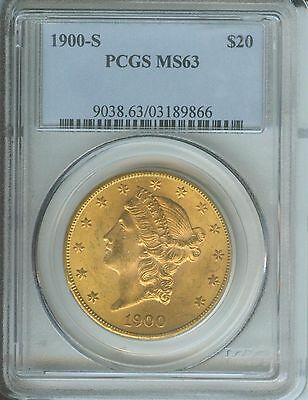 1900-S $20 Liberty Gold Double Eagle Pcgs Ms63 San Francisco Better Date !!!