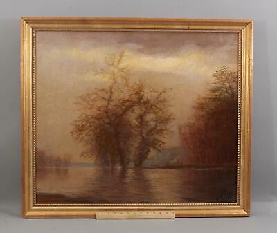 Lrg Antique c1900 American Impressionist Luminist Autumn Landscape Oil Painting