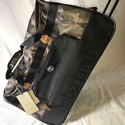 "Timberland Webster Lake Camo Travel Luggage 26"" Rolling Wheeled Duffle Bag $300"