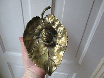 Antique Art Nouveau Brass Leaf Shaped Dish with Mans Face in Raised Relief-c1895