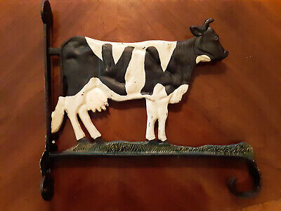 Vintage Cast Iron Holstein Cow Wall Bracket - plant Hanger (Early 1900ss)