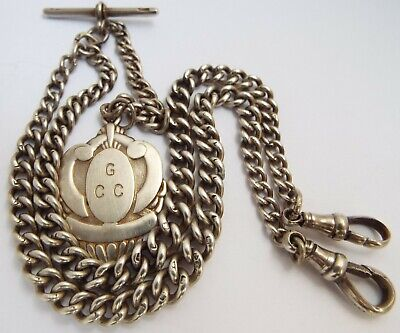 Beautiful English Antique 1900 Solid Sterling Silver Double Albert Chain & Medal