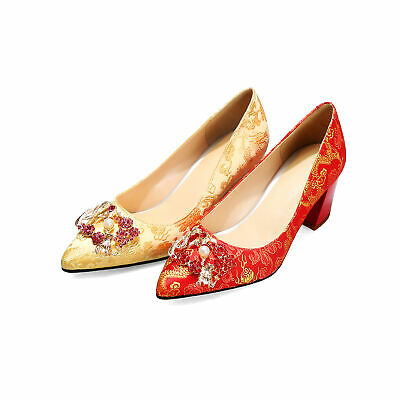 Women's 65mm Block Heel Pumps Gold/Red Satin Wedding Pointed Toe Shoes Plus Size