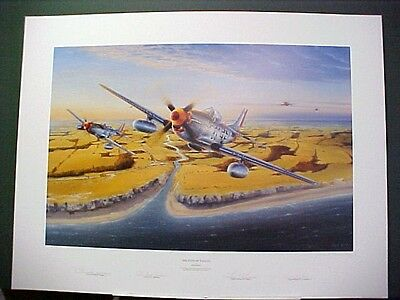 Eyes of Eagles P-51 Mustang Chuck Yeager Bud Anderson 4 Signed Aviation Art