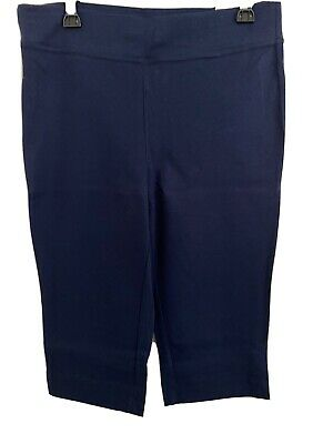 New Alfred Dunner Navy Blue Capri Pants Womens 10P Pull On Americas Cup