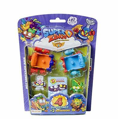 Superzings- Serie 5 - Blister AeroWagon con 4 figuras SuperZings (1 plateada) +
