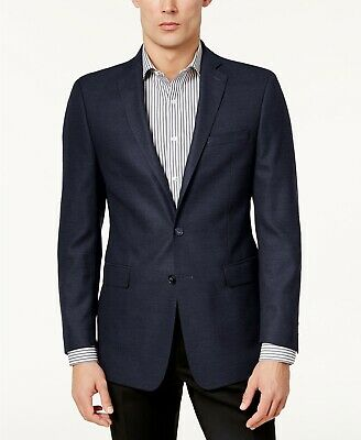 Calvin Klein Mens Slim-Fit Textured 2 Button Sport Coat Blazer Blue 42R NEW $350