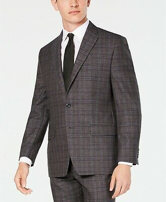 MICHAEL KORS Men's Regular Fit Airsoft Stretch Plaid Suit Jacket Brown 44R $475