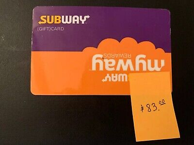 Subway Gift Card $83.00 *FREE SHIPPING*