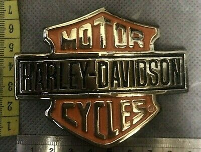 Orange And Silver Harley Davidson Motor Cycles Belt Buckle