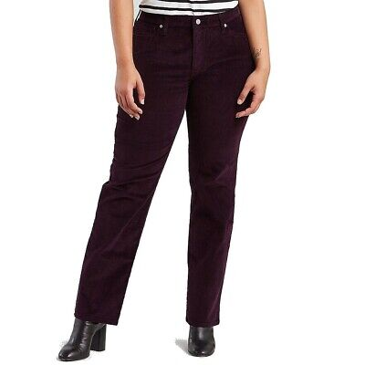 Levi's Women's Pants Purple Size 16W Plus 414 Classic Corduroys Stretch $59 #017